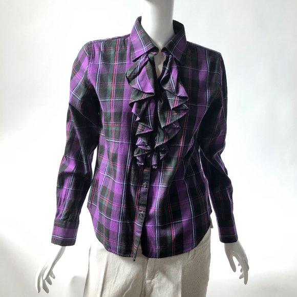 Petite Sized Lauren Purple Plaid Shirt